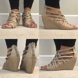 Jeffrey Campbell Shoes - Ibiza Jeffrey Campbell nude strappy wedge sandal